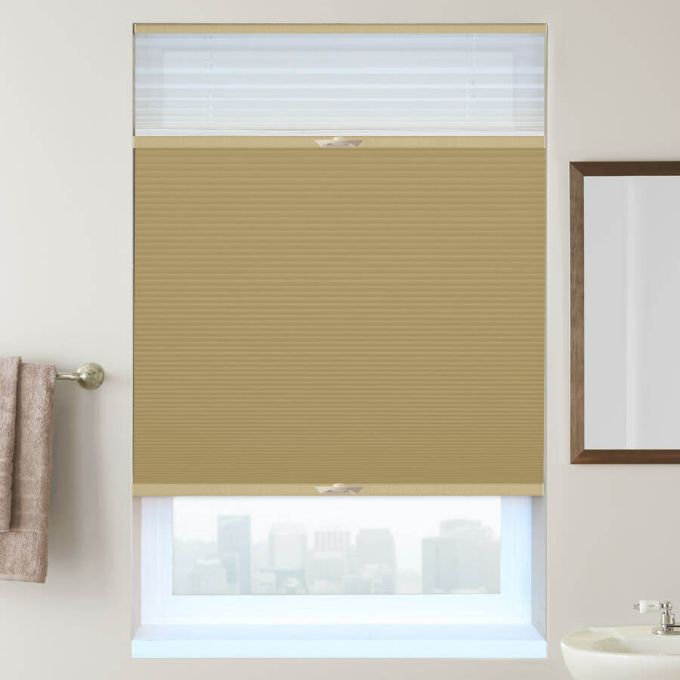 "1/2"" Double Cell Designer Blackout Trishade Honeycomb Shades 5384"