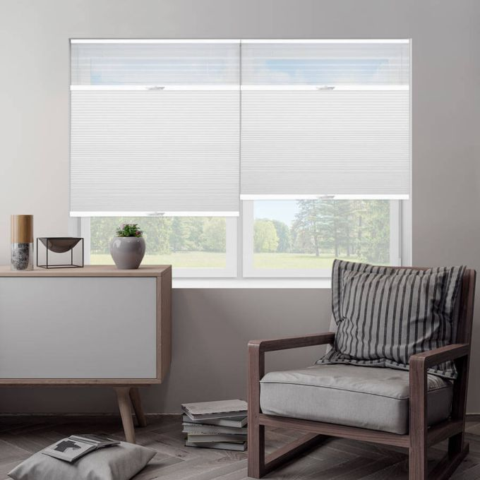 "1/2"" Double Cell Designer Blackout Trishade Honeycomb Shades 5388"