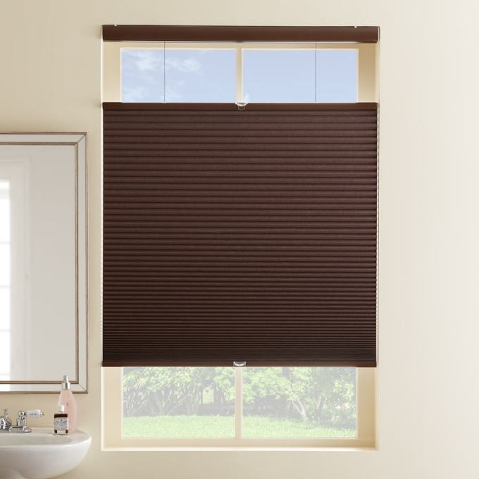 """1/2"""" Single Cell Designer Cordless Top Down Bottom Up Blackout Honeycomb Shades"""