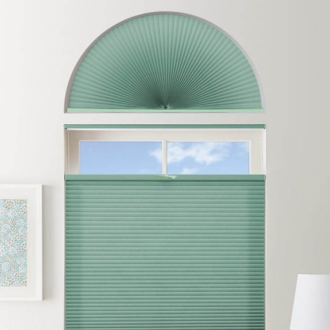 Double Cell Light Filtering Arch Window Shades