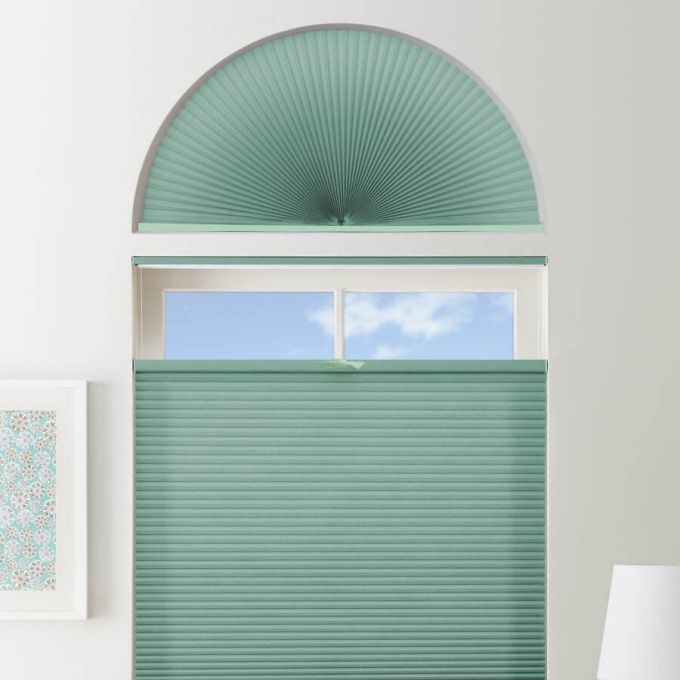 Stores cellulaires filtres de lumière à cellule double pour fenêtres en arche 7330