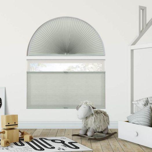 Stores cellulaires filtres de lumière à cellule double pour fenêtres en arche 7333