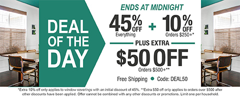 45% off everything + 10% off orders $250+ plus extra $50 off orders $500+