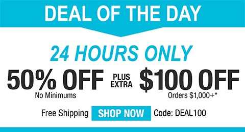 50% off no minimums plus extra $100 off orders $1,000+